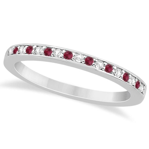 Ruby & Diamond Pave Side Stone Wedding Band 14k White Gold (0.25ct)
