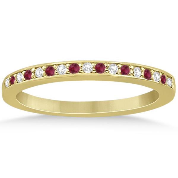 Ruby & Diamond Pave Side Stone Wedding Band 18k Yellow Gold (0.25ct)