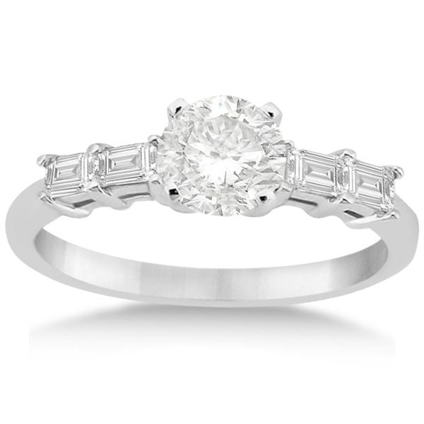 Five Stone Diamond Baguette Engagement Ring 18K White Gold (0.36ct)