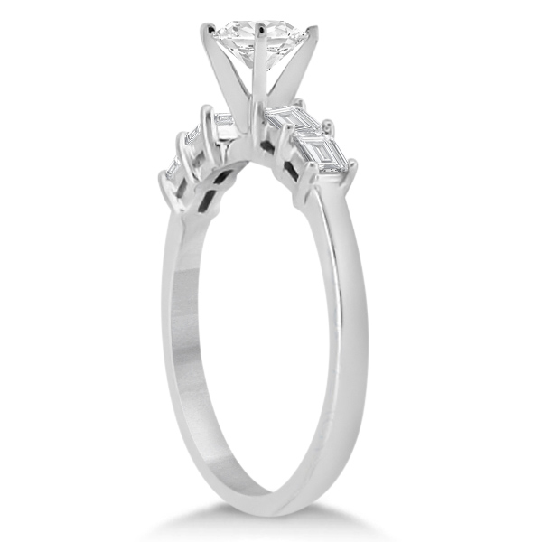 Five Stone Diamond Baguette Engagement Ring platinum (0.36ct)