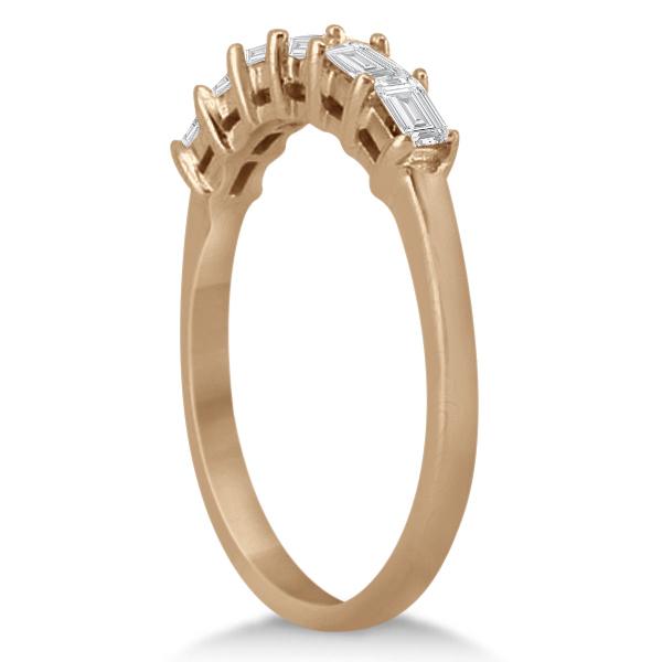 Baguette Diamond Engagement Ring & Wedding Band 14K Rose Gold (0.90ct)