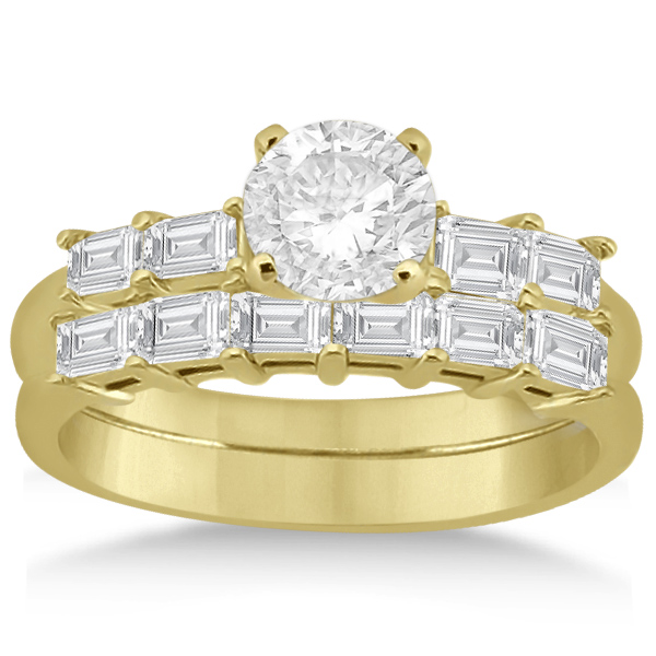 Baguette Diamond Engagement Ring & Wedding Band 14K Yellow Gold (0.90ct)