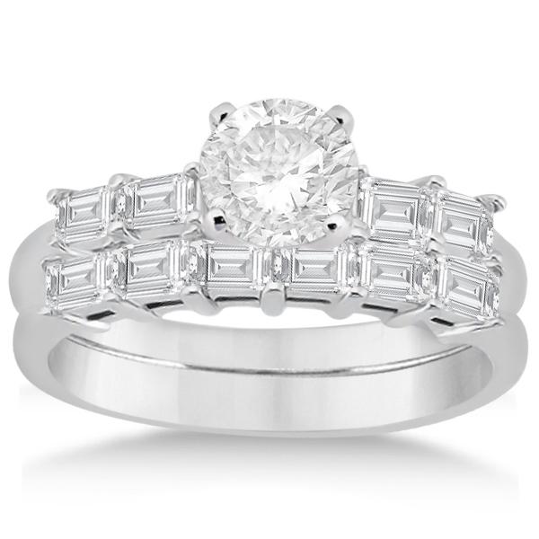 Baguette Diamond Engagement Ring & Wedding Band in Palladium (0.90ct)