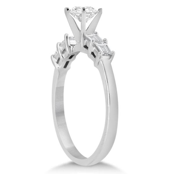 Baguette Diamond Engagement Ring & Wedding Band Platinum (0.90ct)