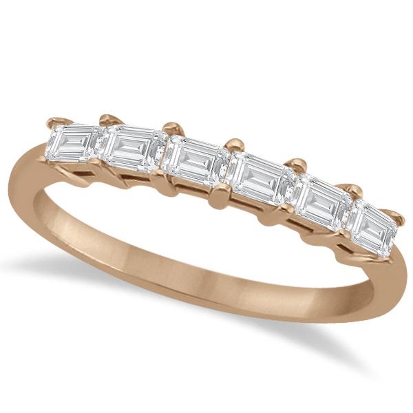 Baguette Diamond Ring Wedding Band for Women 14K Rose Gold (0.54ct)