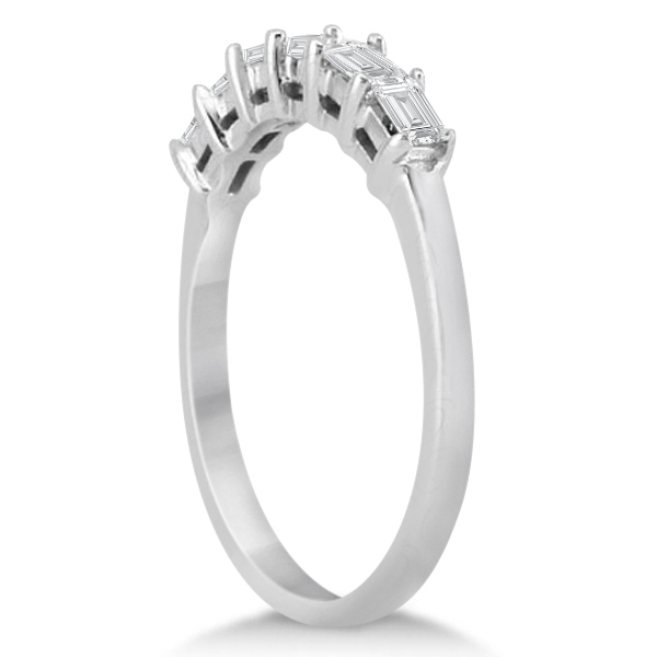 Baguette Diamond Ring Wedding Band for Women 18K White Gold (0.54ct)