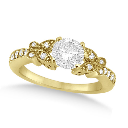 Round Diamond Butterfly Design Engagement Ring 14k Yellow Gold (0.75ct)