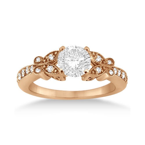 Butterfly Lab Grown Diamond Engagement Ring Setting 14k Rose Gold (0.20ct)