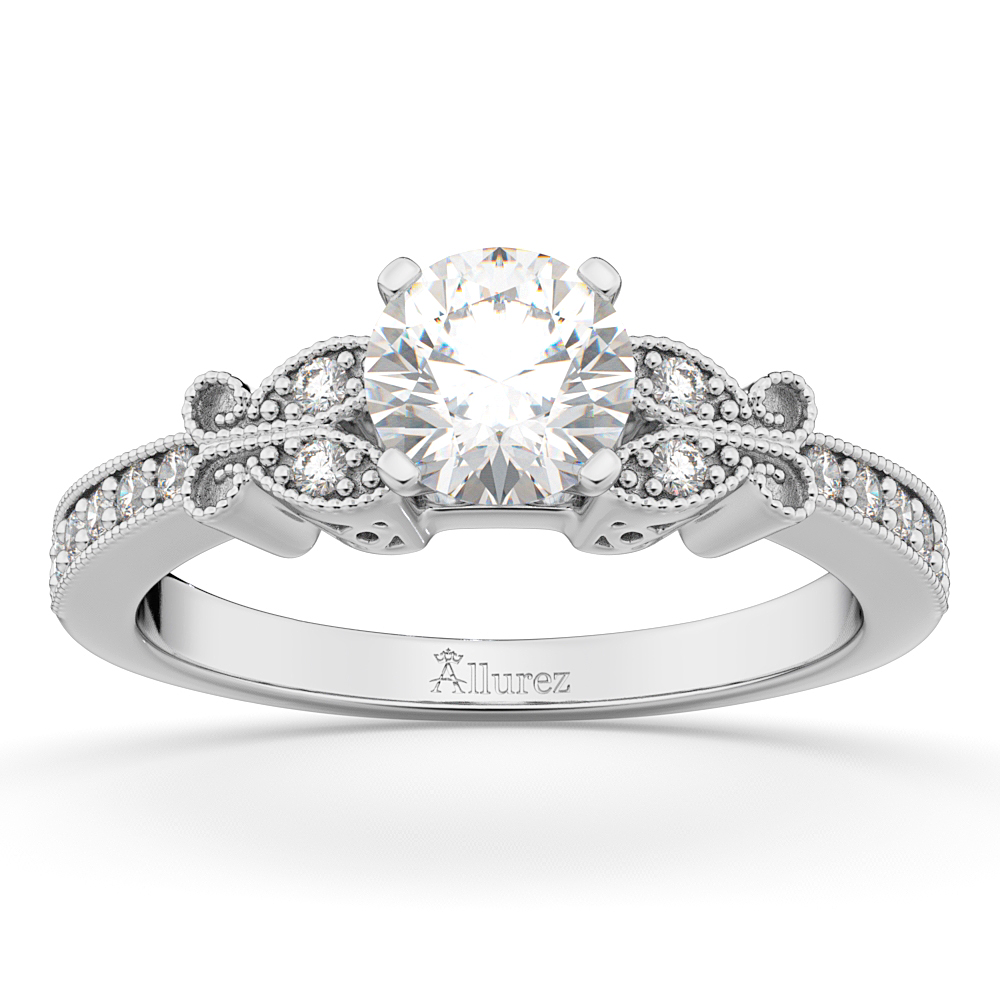 Butterfly Lab Grown Diamond Engagement Ring Setting 18k White Gold (0.20ct)