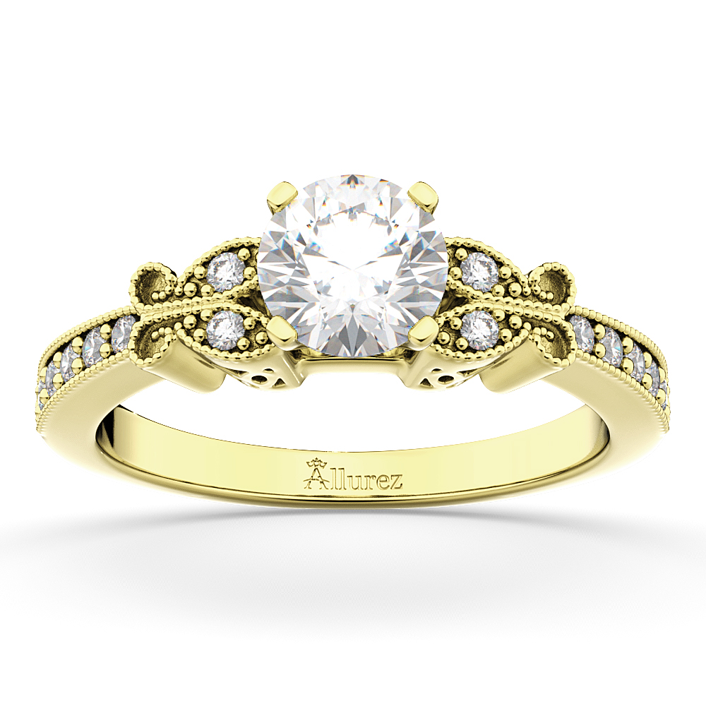 Butterfly Lab Grown Diamond Engagement Ring Setting 18k Yellow Gold (0.20ct)