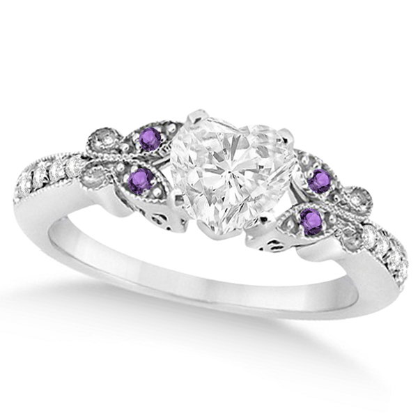 Heart Diamond & Amethyst Butterfly Engagement Ring 14k W Gold (0.50ct)