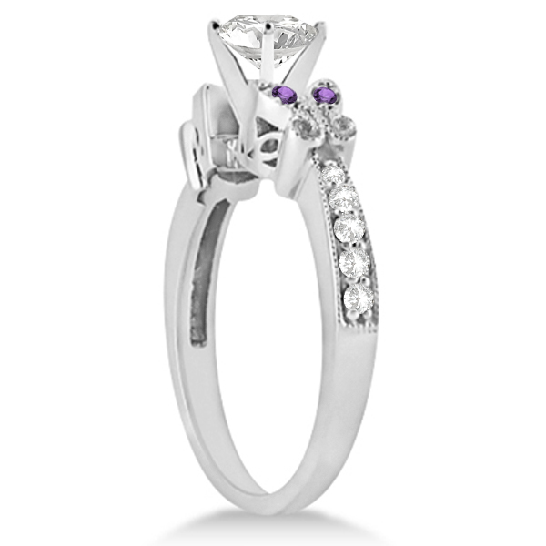 Round Diamond & Amethyst Butterfly Engagement Ring 14k W Gold (1.00ct)
