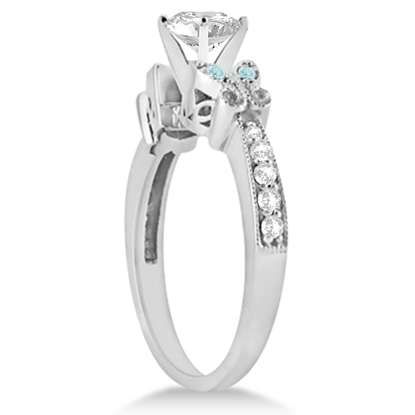 Heart Diamond & Aquamarine Butterfly Engagement Ring 14k W Gold 0.50ct