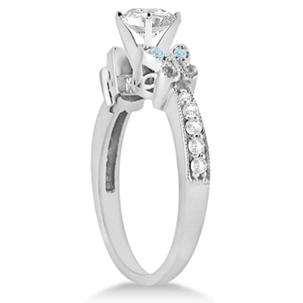 Heart Diamond & Aquamarine Butterfly Engagement Ring 14k W Gold 0.75ct