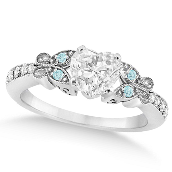 Heart Diamond & Aquamarine Butterfly Engagement Ring 14k W Gold 1.00ct