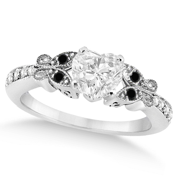 Black & White Diamond Heart Butterfly Engagement Ring 14k W Gold 1.50ct