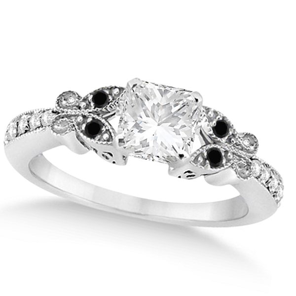 Black & White Diamond Princess Butterfly Engagement Ring 14k W Gold 1.50ct
