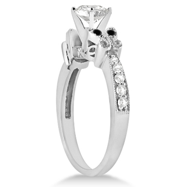 Round Black & White Diamond Butterfly Engagement Ring 14k W Gold 0.50ct
