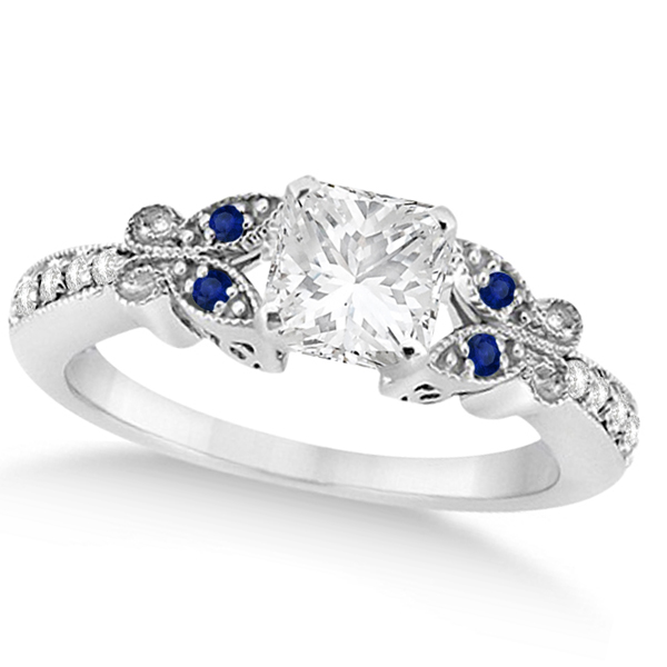 Princess Diamond & Blue Sapphire Butterfly Engagement Ring 14k W Gold 1.50ct