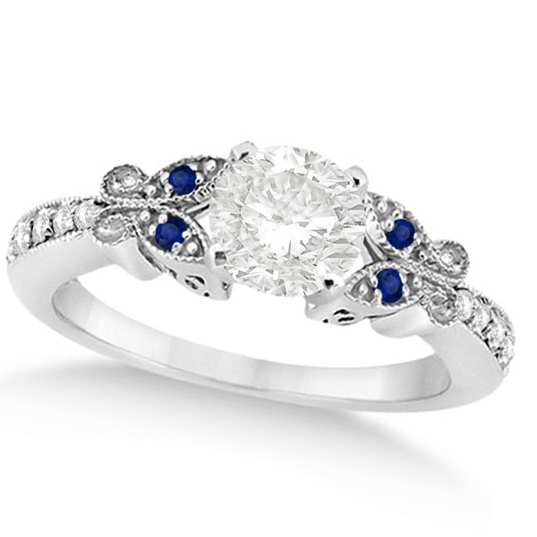 Round Diamond & Blue Sapphire Butterfly Engagement Ring 14k W Gold 1.50ct