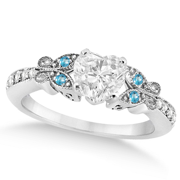 Heart Diamond & Blue Topaz Butterfly Engagement Ring 14k W Gold 0.50ct