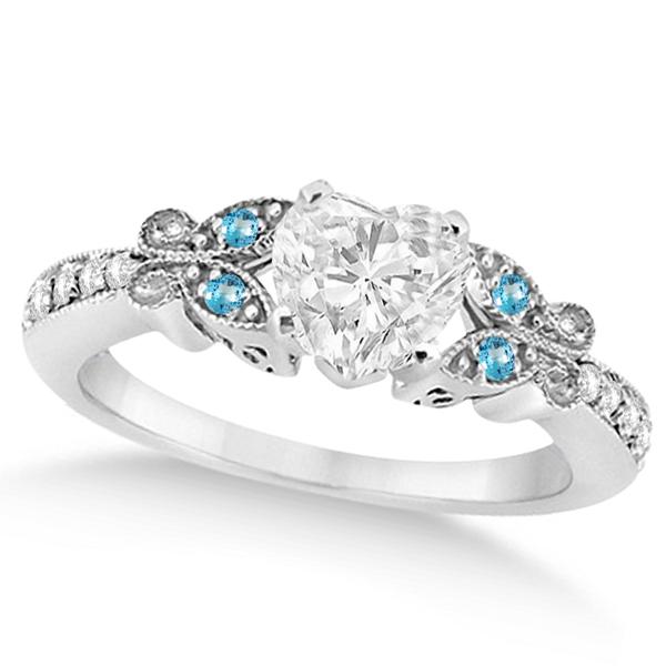 Heart Diamond & Blue Topaz Butterfly Engagement Ring 14k W Gold 1.00ct