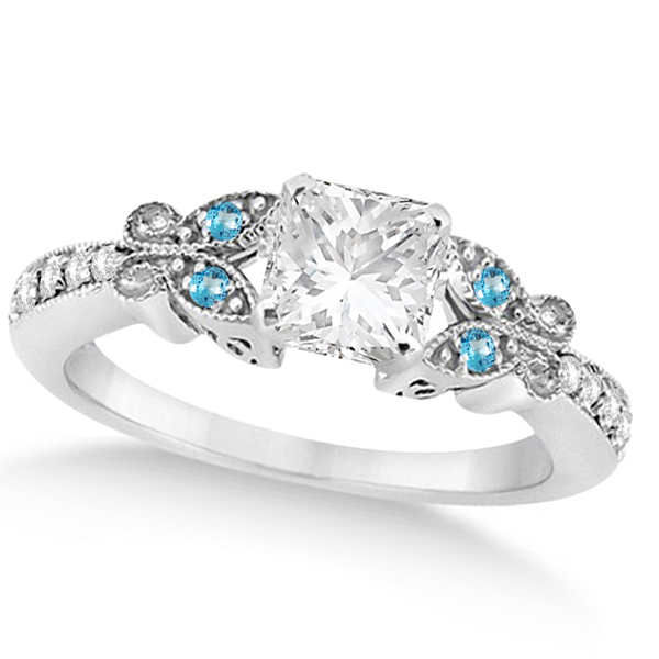 Princess Diamond & Blue Topaz Butterfly Engagement Ring 14k W Gold 1.50ct