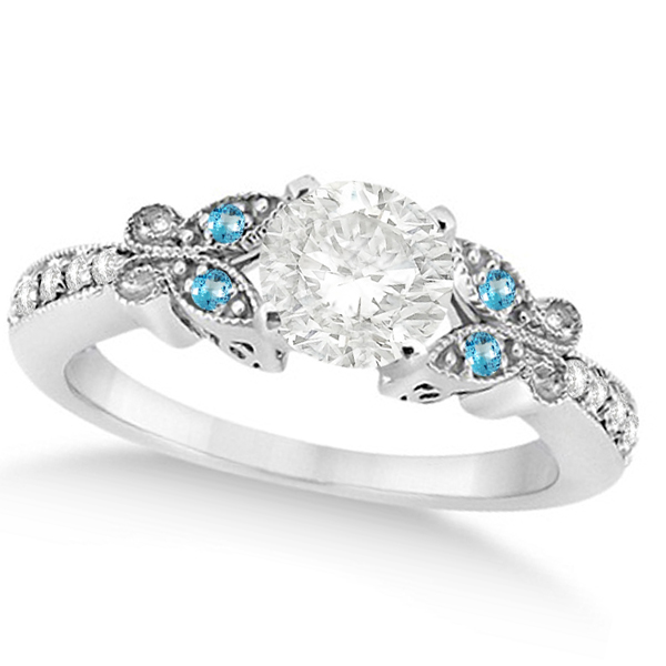 Round Diamond & Blue Topaz Butterfly Engagement Ring in 14k W Gold 1.50ct