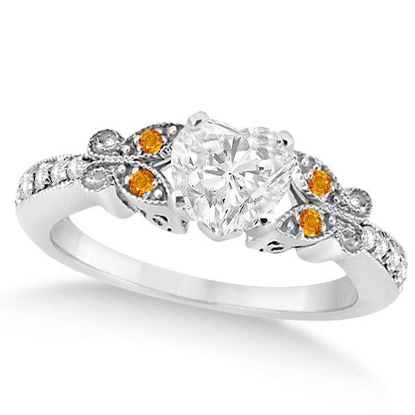 Heart Diamond & Citrine Butterfly Engagement Ring 14k W Gold 0.75ct