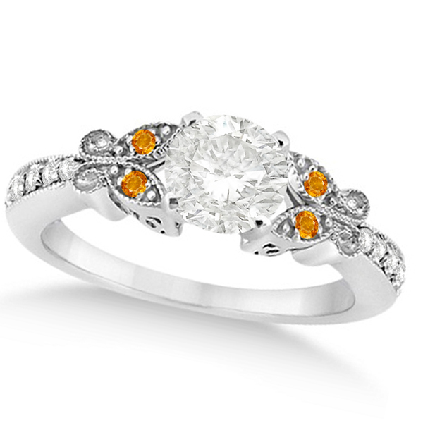 Round Diamond & Citrine Butterfly Engagement Ring in 14k W Gold 1.50ct