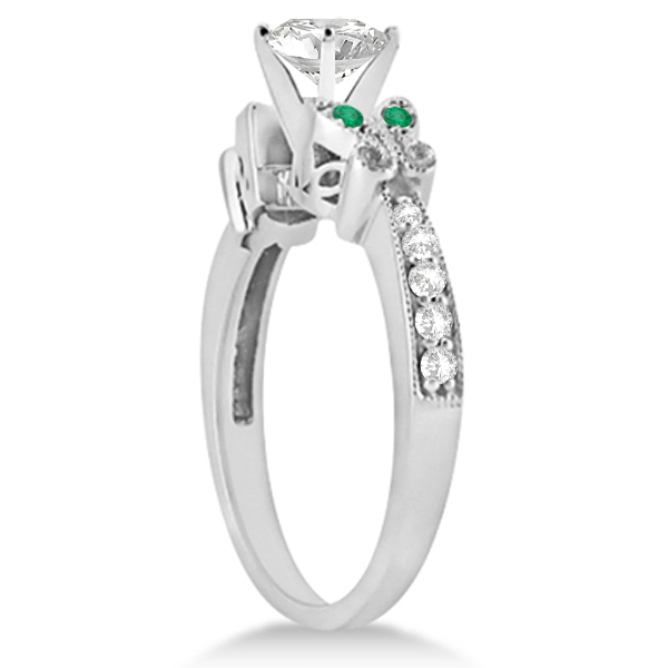 Heart Diamond & Emerald Butterfly Engagement Ring 14k W Gold 0.50ct