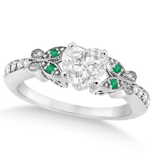 Heart Diamond & Emerald Butterfly Engagement Ring 14k W Gold 1.50ct