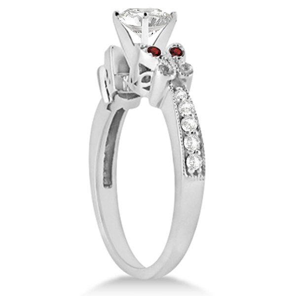 Round Diamond & Garnet Butterfly Engagement Ring in 14k W Gold (0.50ct)