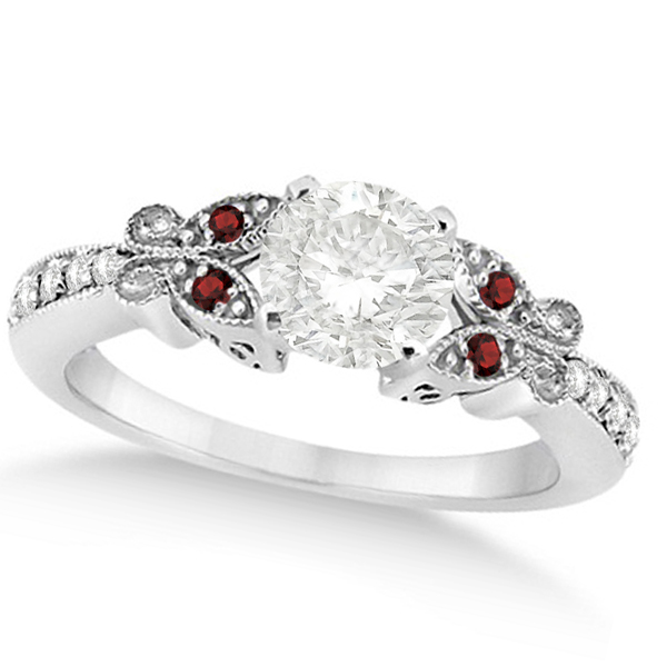 Round Diamond & Garnet Butterfly Engagement Ring in 14k W Gold (1.50ct)