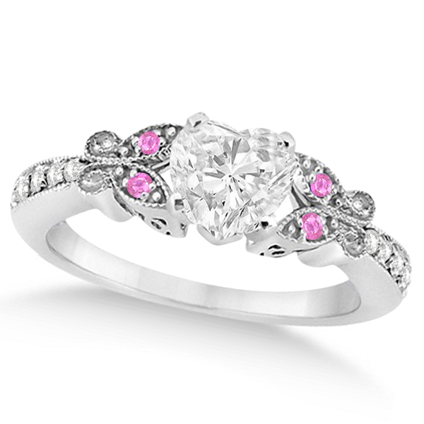 Heart Diamond & Pink Sapphire Butterfly Engagement Ring 14k W Gold 1.50ct
