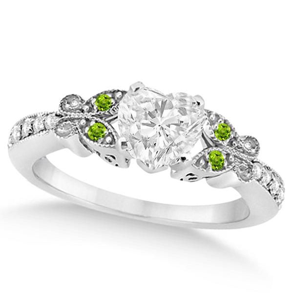 Heart Diamond & Peridot Butterfly Engagement Ring 14k W Gold 0.50ct