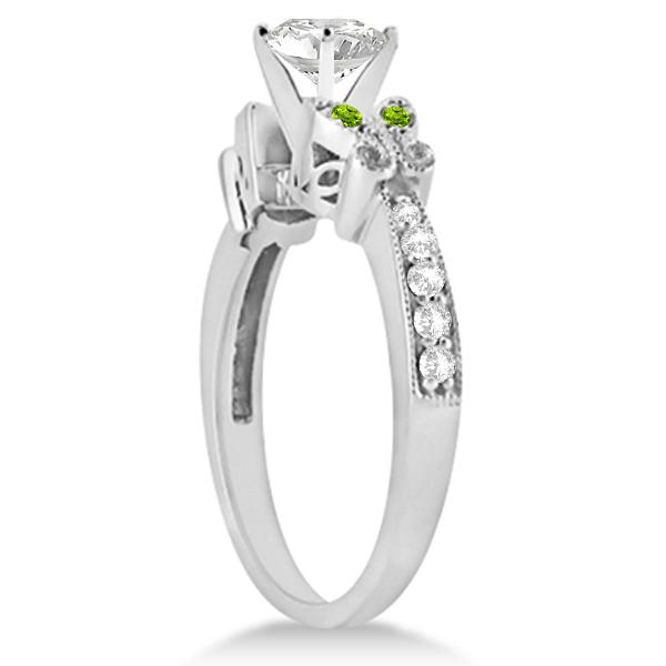 Princess Diamond & Peridot Butterfly Engagement Ring 14k W Gold 0.75ct
