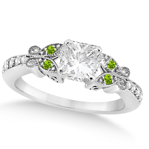 Princess Diamond & Peridot Butterfly Engagement Ring 14k W Gold 1.50ct