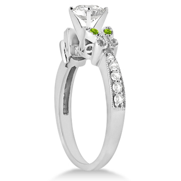 Round Diamond & Peridot Butterfly Engagement Ring in 14k W Gold 0.50ct