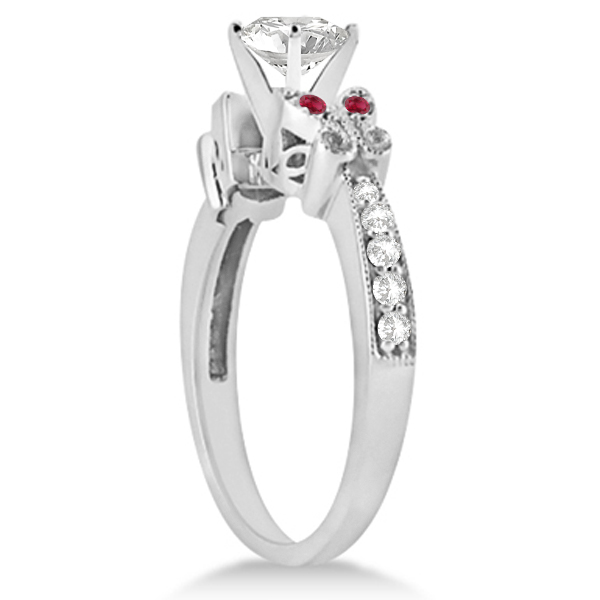 Heart Diamond & Ruby Butterfly Engagement Ring 14k White Gold (0.50ct)