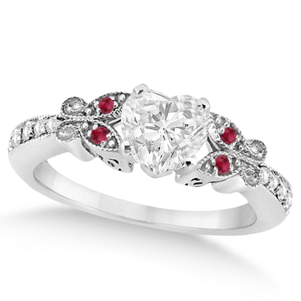 Heart Diamond & Ruby Butterfly Engagement Ring 14k White Gold (0.75ct)