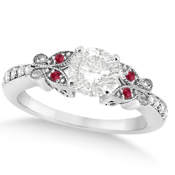 Round Diamond & Ruby Butterfly Engagement Ring in 14k W Gold (1.50ct)