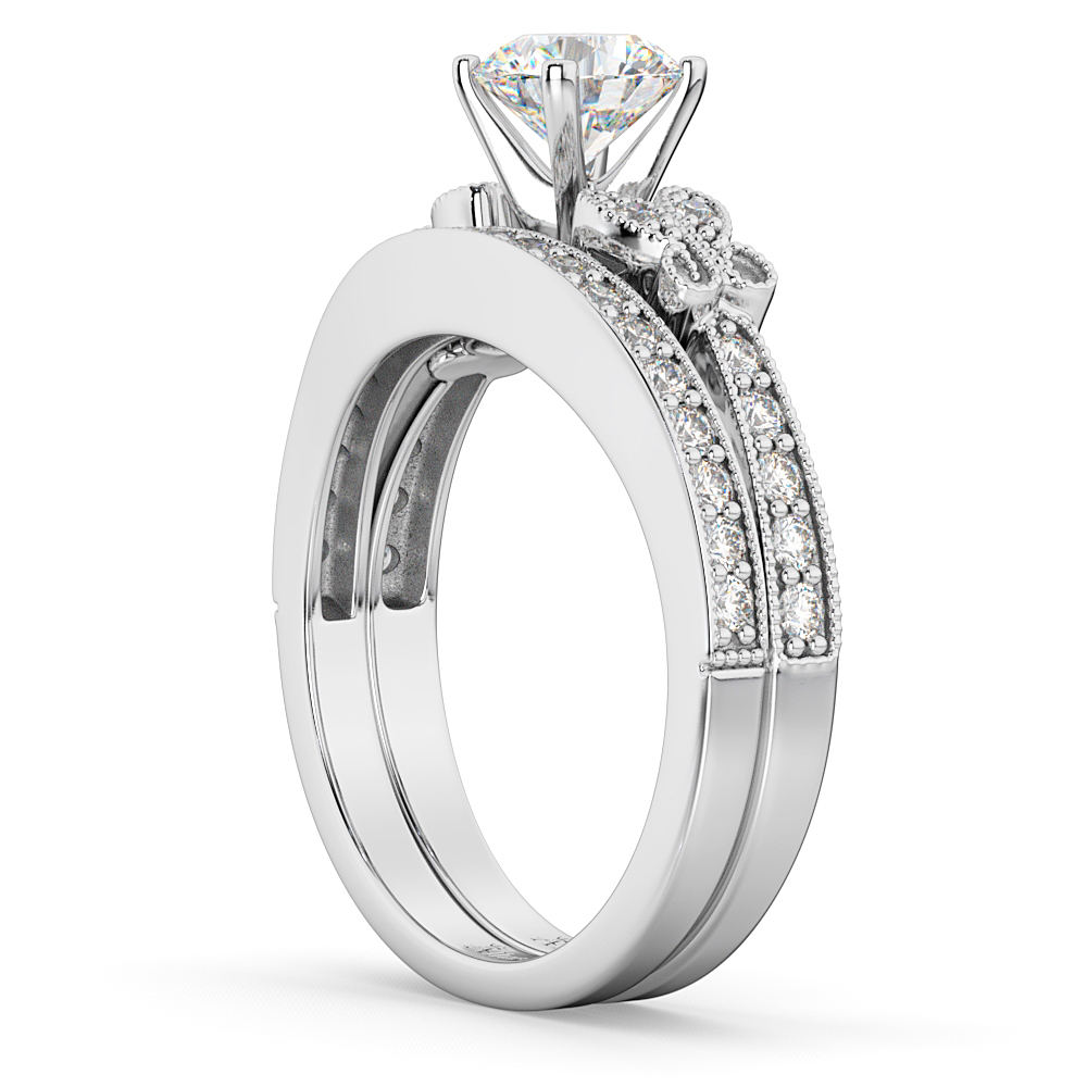 Butterfly Engagement Ring Wedding Band Bridal Set 14k White Gold