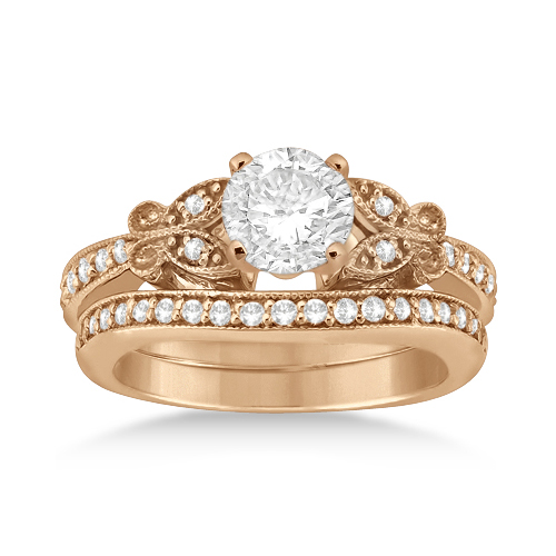 Butterfly Engagement Ring & Wedding Band Bridal Set 18k Rose Gold (0.42ct)