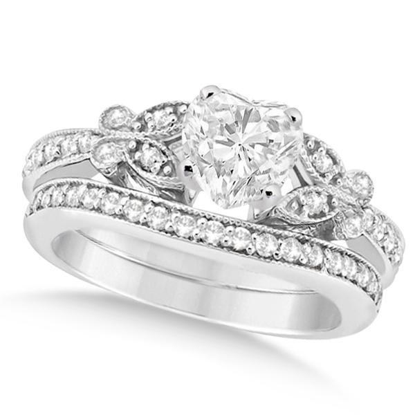 Heart Diamond Butterfly Design Bridal Ring Set 14k White Gold (0.96ct)