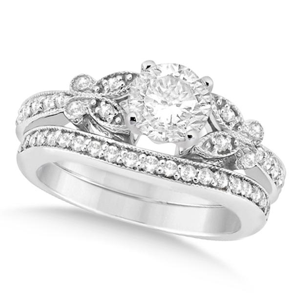 Round Diamond Butterfly Design Bridal Ring Set 14k White Gold (1.21ct)