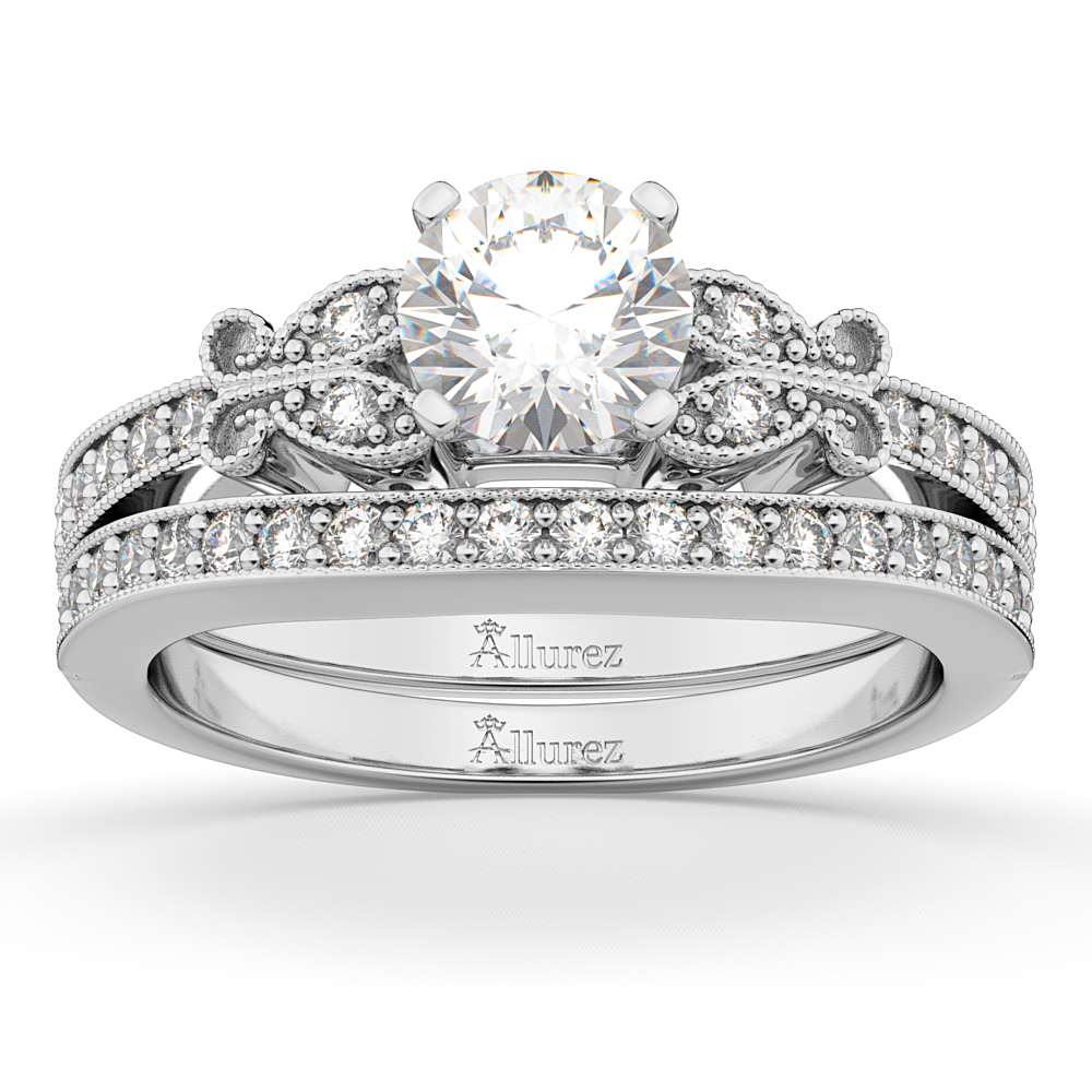 Butterfly Engagement Ring & Wedding Band Bridal Set 14k White Gold (0.42ct)