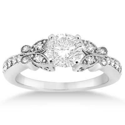 Butterfly Engagement Ring & Wedding Band Bridal Set Palladium Gold (0.42ct)