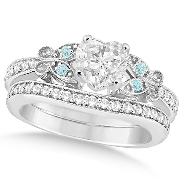 Heart Diamond & Aquamarine Butterfly Bridal Set in 14k W Gold (0.96ct)