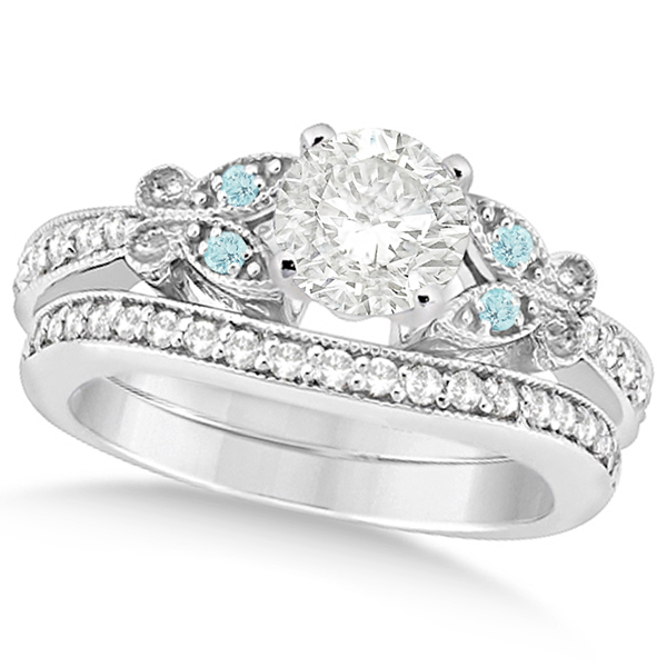 Round Diamond & Aquamarine Butterfly Bridal Set in 14k W Gold (1.71ct)